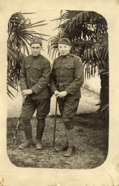 "Ernst Spielmann served in the US Army in World War I.  The back of the postcard says, ""Taken at Pamalon les Bains March 9th while on 14 day furlough. To Sister M., Ernst"""