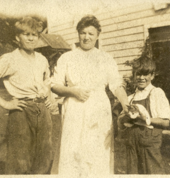 "Fanny Spielmann and a couple of unknown boys (I don't think these are Spielmann boys). The back of the photo says ""Bethel Ct. August 1912"", and the photographer is unknown."