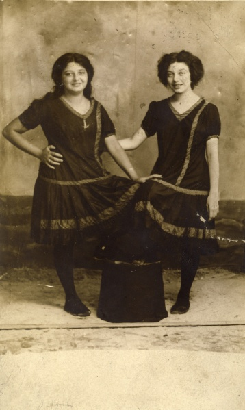 A postcard from Coney Island featuring my great-grandmother Margaret and her younger sister Hilda, dated August 13, 1910, and addressed to Mrs. F. Spellman (their mother Fanny, I presume). Photographer unknown.