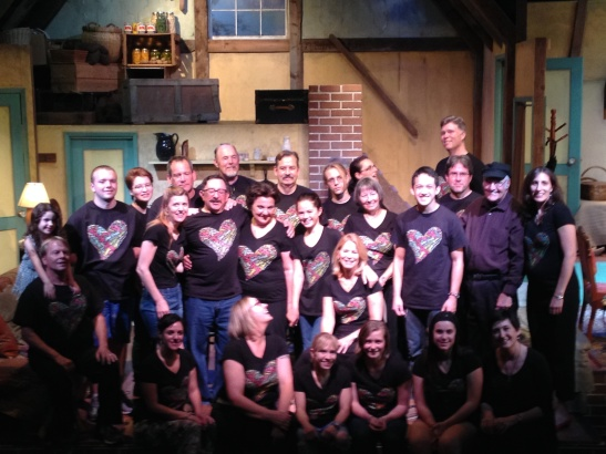 The cast and crew of The Diary of Anne Frank, taken just after the final performance. I'm in lower right corner.