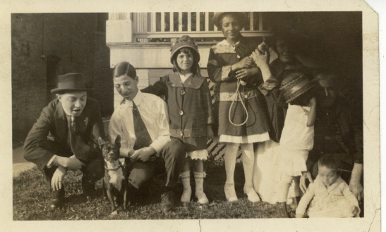 Date and photographer unknown. Ernst is on the far left holding the dog.
