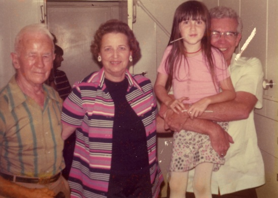 My great-grandfather Leo Lessiack, grandmother Katherine Adams Lessiack, Me, and my grandfather Robert Lessiack. Exact date unknown, but I can safely say it's the early 70s, and the photographer is probably my mom.