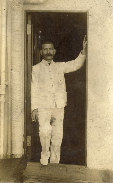 Herman Spielman, who worked in a variety of capacities on ships. Notice the pinholes in the picture, as if the image might have been tacked to a bulletin board.