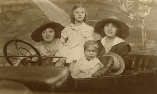 Back of photo: Coney Island, July 9, 1917. Hilda, Leonor, Margaret, and Wally Lessiack, the niece of my great-grandfather, Leo Lessiack.