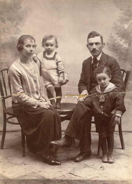 Irene Gross (sister of my husband's grandmother, Julia Winter) and her family before the war. Photographer unknown.