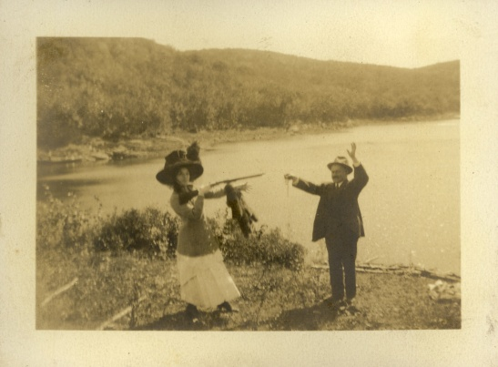 "Date unknown. The back of the photo says, ""Margie time to hold up L.S."""