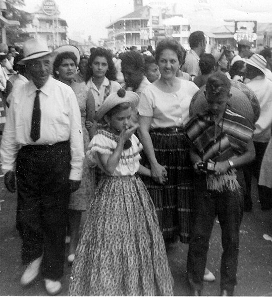 Aunt Fran with her mother and brother enjoying Carnival on Avenida Central in Panama City. Date and photographer unknown.