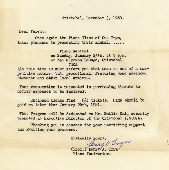 Piano Recital Letter from Professor Gus Trym