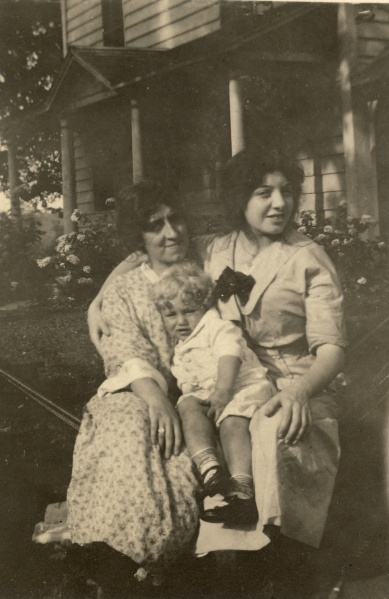 "The back of the photo says, ""Bethel Conn, August 1912."" The young woman with Margaret appears to be the same young woman that Ernst is carrying here, but I don't know her name or relationship to the family. Photographer unknown."