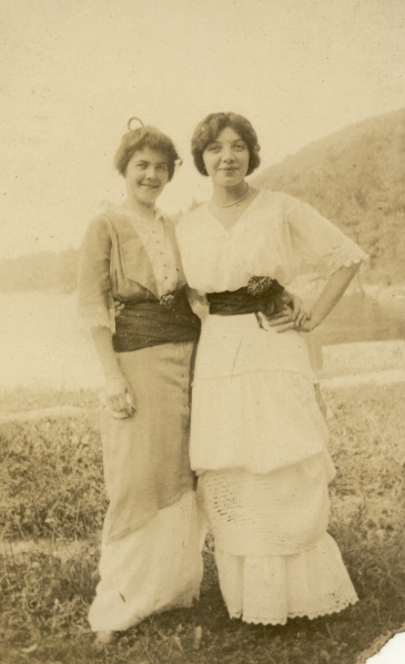 Margaret and an unknown friend. I have a sneaking suspicion this might be an early meeting with one of Leo's sisters, possibly Wally, but I'm not 100% sure. Date and photographer unknown.