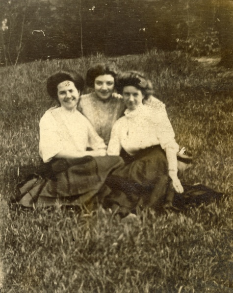 "The back of this photo says ""Loretta, Margie, and May Mc."" Date and photographer unknown."