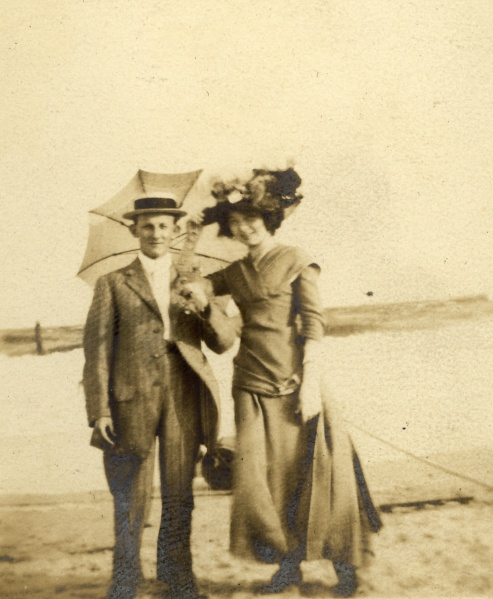 """Margie and Martin, Rockaway, June 27, 1910"""