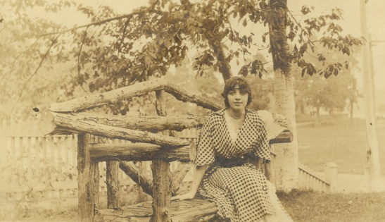Young Margaret in a rustic setting. Date and photographer unknown.