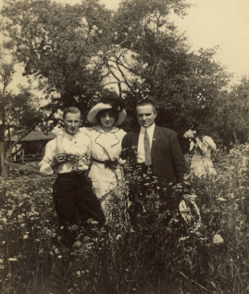 "One more in the Martin series. The back of photo says, ""Martin, Myself, George, Bellwood Park, June 30, 1912."" Photographer unknown."