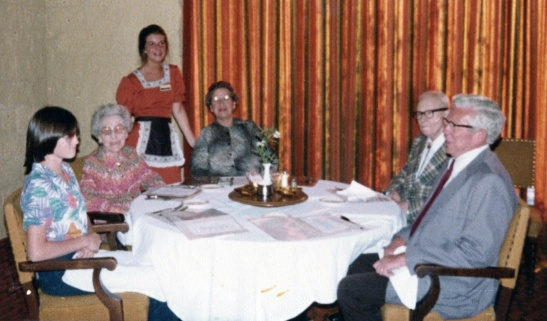 From left to right, not including the waitress:  Moi, in all my ghastly pre-teen glory, my great grandmother, Helen Adams Yoder, my grandmother, Katherine Adams Lessiack, the one and only Pop Yoder, and my grandfather, Robert Lessiack.  Date unknown, but I'm pretty sure the photographer is my mother.