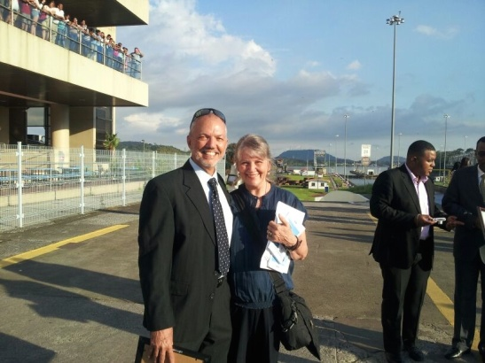 Lew Stabler and Sue Lessiack Stabler at Miraflores locks just after a ceremony recognizing Lew's 40 years of service to the Panama Canal.
