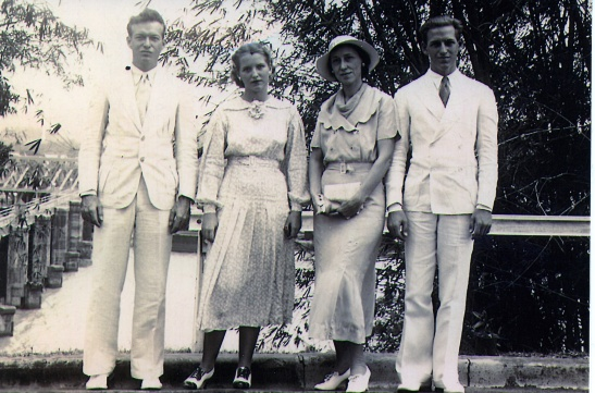 Helen Hudelson Adams Yoder and her three children, Robert K. Adams, Katherine Adams Lessiack, and Roger W. Adams. All worked on the Panama Canal as adults.