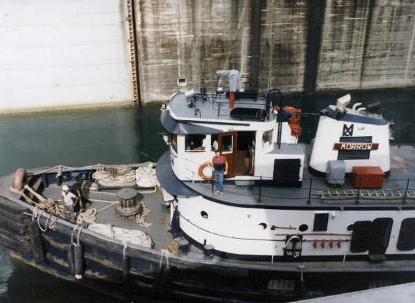 Lew Stabler on the tug Morrow in the Gatun Locks.