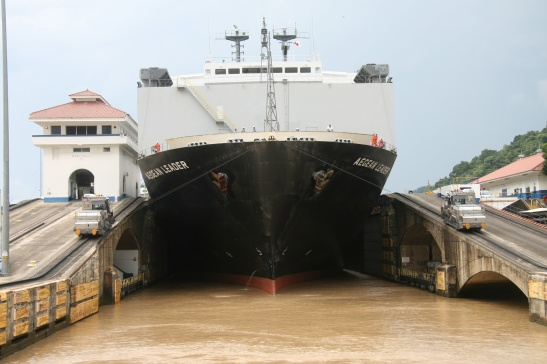 This perspective -- facing the wrong way into a chamber at the Pedro Miguel locks -- is not a view of the Panama Canal you get unless you know someone. I know someone. I took this photo in 2011 from the deck of my Dad's tugboat, Cacique.