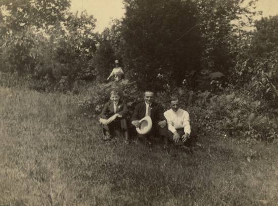 "The back of the photograph says, ""Court, George, and Martin. Bellwood Park, June 30, 1912"""