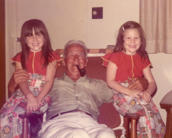 """On the back of the photo in my grandmother's hand: """"Early March, 1973."""" I'm on the left, and my cousin Jenny is on the right."""