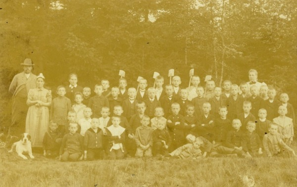 "Back of photo: ""1897"" Leo is in the front row, second from the right. He would have been seven years old in this photo"