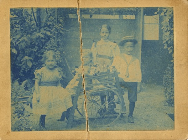 "The back of the photograph is labeled ""1897"" The boy on the right is Leo, and I assume  the girls are Emmi (in the back),  Wally and Johanna. Because I don't know Johanna's birthdate, I don't know if she is older or younger than Wally. However, I do have other photos of Emmi, so I'm reasonably sure I've identified her correctly."