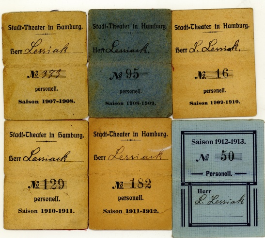 Work badges from Stadt-Theater of Hamburg 1907 - 1912