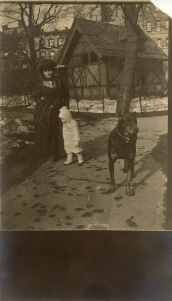 """Central Park, New York, April 1914."" Other photos identify the dog as ""Bosco"""