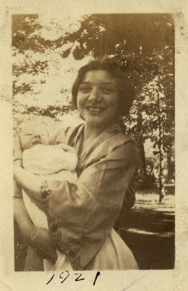 """1921"" on the back. Margaret holds my newborn grandfather, Robert Lessiack."