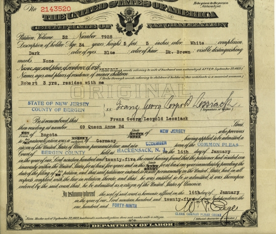 My great-grandfather Franz Georg Leopold Lessiack naturalized in January of 1925.
