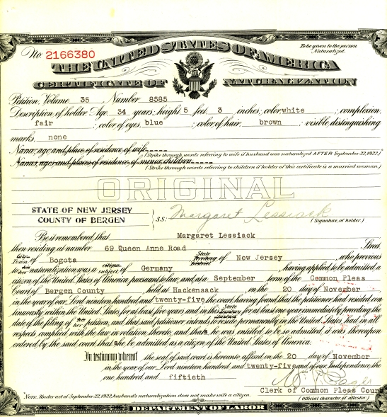 My great-grandmother Margaret Spielmann Lessiack naturalized in November of 1925.