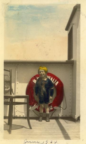 """""""Bobby on SS Westphalia en route to Hamburg, June 1924"""""""