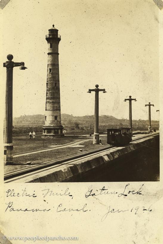 Electric mule, Gatun Locks, Panama Canal, Jan. 1926