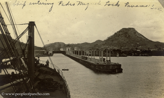 Ship entering Pedro Miguel Lock, Panama Canal