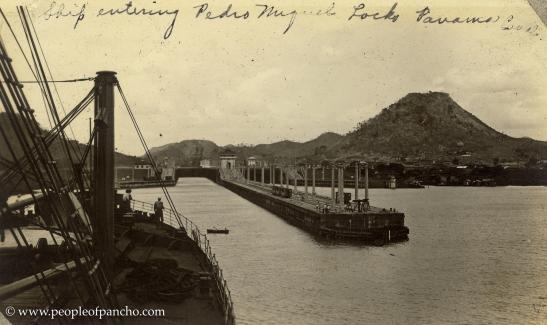 Ship entering Pedro Miguel Lock, Panama Canal